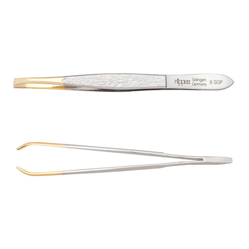 Nippes Tweezer 9SGP – 9cm, bent, gold pointed